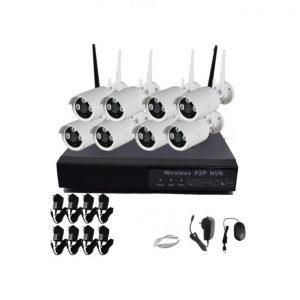 Wireless IP Security Recording System 8 Camera WIFI With Internet And Phone Viewing , 8CH WIFI NVR Kits + 8PCS Outdoor/Indoor