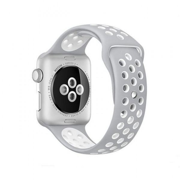 Bracelet silicone 38mm For Apple Watch Gray & White Color
