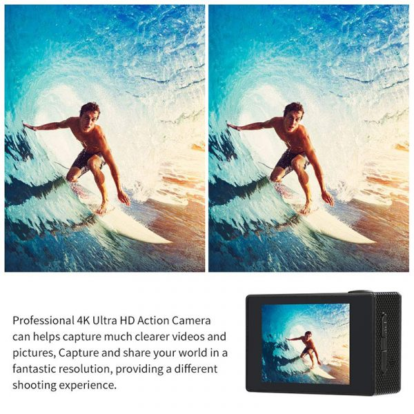 Camera 4K Sports Action WIFI 30m Water Resistant