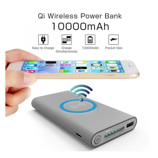 Qi Power Bank 10000mAh Wireless Charger Fast Charging for iPhone and Samsung Phone Gray Color